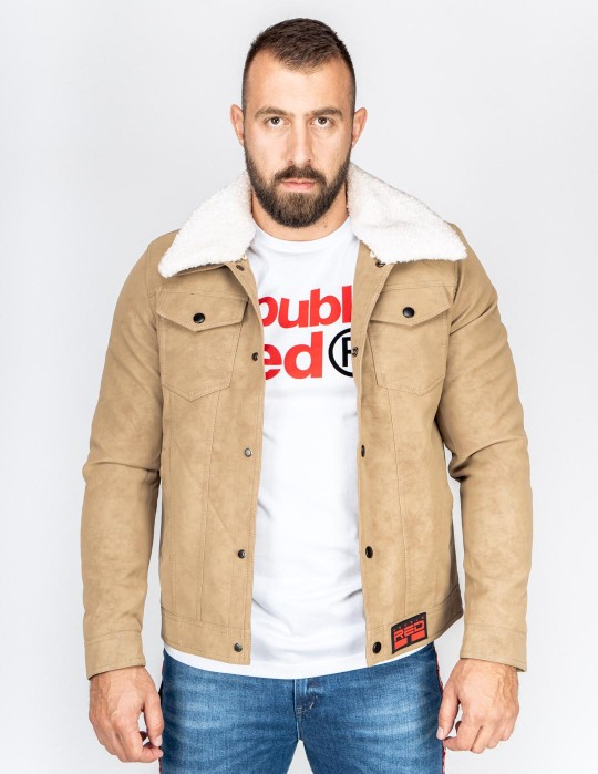 MONTECARLO Leather Jacket Beige
