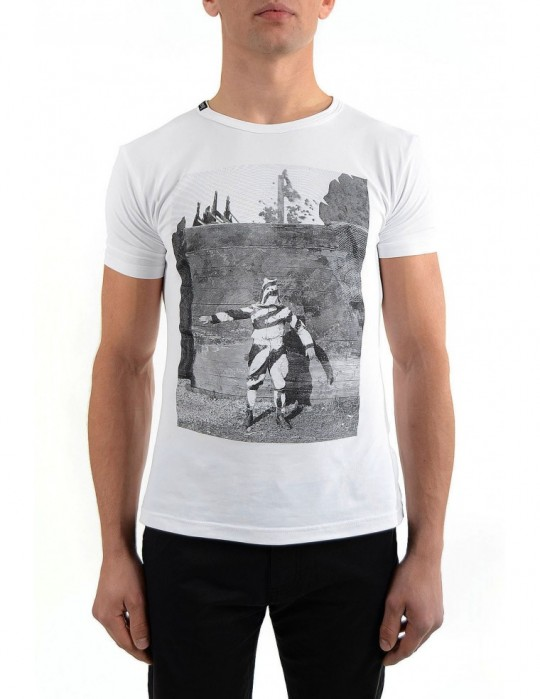 SOLDIER SCREEN-PRINTED SUPER-SOFT STRETCH COTTON T-SHIRT