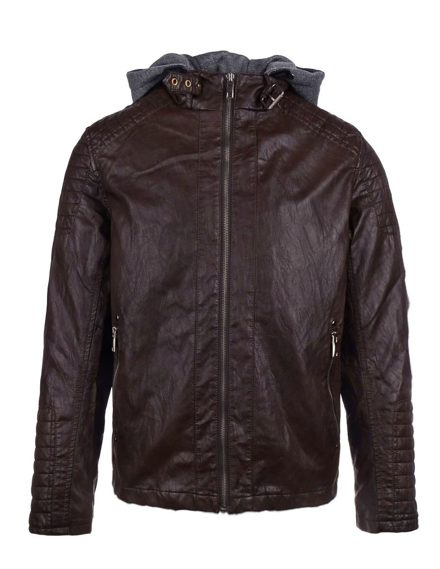 DR M Faux Leather Hooded Biker Jacket Brown
