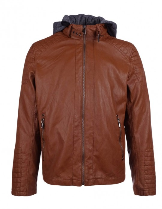 DR M Faux Leather Hooded Biker Jacket Camel