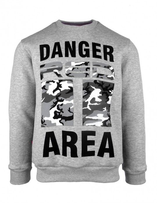 DR M Sweatshirt Danger Area B&W Logo Gray
