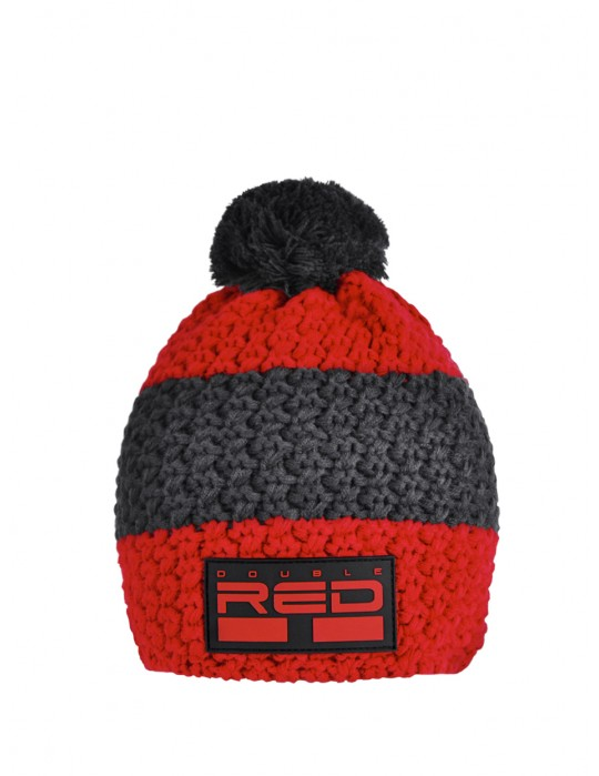 DOUBLE RED COURCHEVEL Pompom Cap Red/Gray