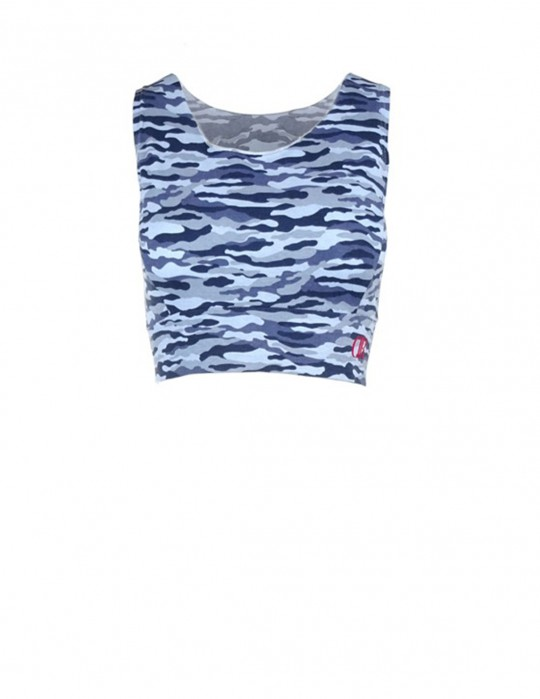 DR W Blue Camo Crop Top