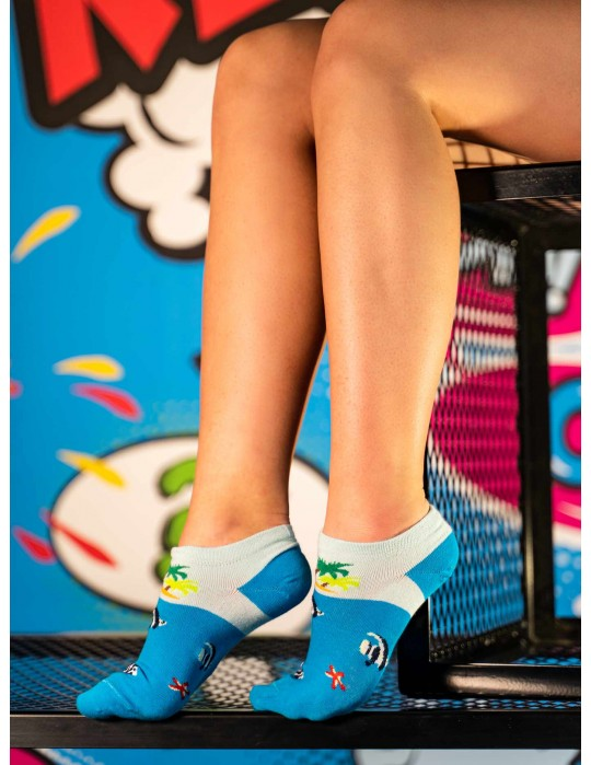 Women's Low Cut FUN Socks Blue Sea